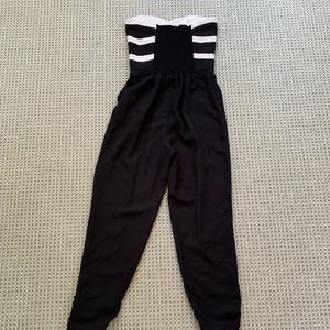 Parker Pants - Parker black and white chevron jumpsuit